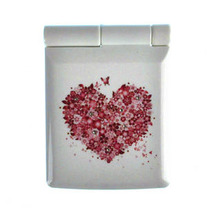 Pink Butterflies and Flowers Heart - Light Up Led Compact Mirror