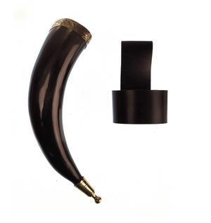 """Brass Rim Drinking Horn - Bull Horn with Holster - 9"""" / 20cm Thumbnail 2"""