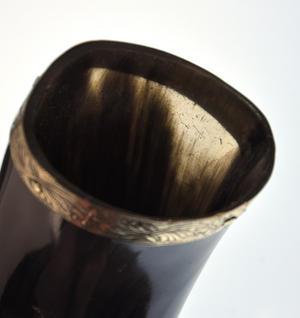 """Brass Rim Drinking Horn - Bull Horn with Holster - 9"""" / 20cm Thumbnail 5"""
