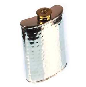 150ml Large Hammered Silver Plate Hip Flask Thumbnail 1