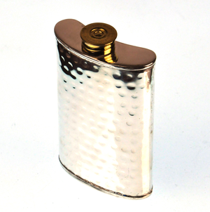 150ml Large Hammered Silver Plate Hip Flask Thumbnail 3