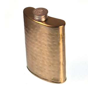 150ml Large Hammered Matt Gold Hip Flask Thumbnail 3