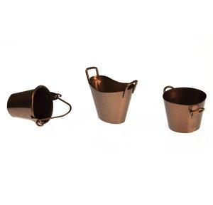 Trio of Fairy Copper Coloured Buckets - Fiddlehead Fairy Garden Collection Thumbnail 2
