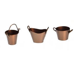 Trio of Fairy Copper Coloured Buckets - Fiddlehead Fairy Garden Collection Thumbnail 3