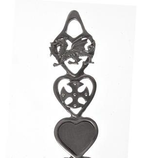 Dragon Cross Slate Heart Horseshoe Bells Large Lovespoon - Everlasting Welsh Love Spoon Forged in Pewter Thumbnail 3