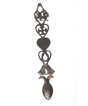 Dragon Cross Slate Heart Horseshoe Bells Large Lovespoon - Everlasting Welsh Love Spoon Forged in Pewter Thumbnail 4