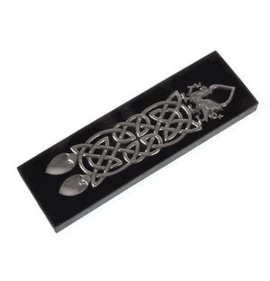 Neverending Twin Spoon Dragon Celtic Knot Lovespoon - Everlasting Welsh Love Spoon Forged in Pewter Thumbnail 7