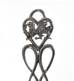 Dragon Celtic Knot Daffodil Large Lovespoon - Everlasting Welsh Love Spoon Forged in Pewter Thumbnail 3