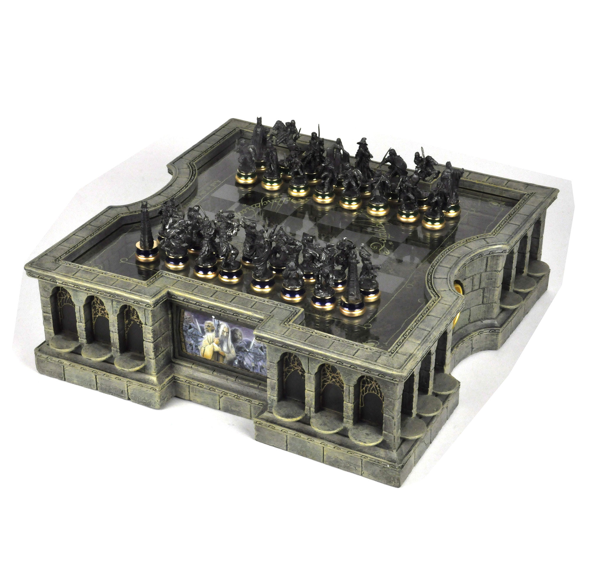 Lord of the rings chess set two tier glass and contoured - The chessmen chess set ...