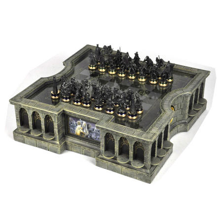 Lord of the Rings Chess Set - Two Tier Glass and Contoured Middle Earth Deluxe Set