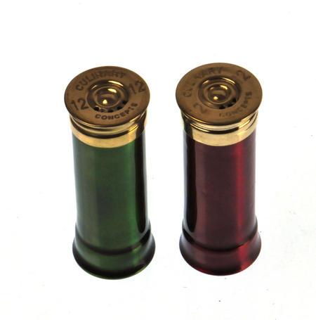 12 Gauge Cartridge Salt & Pepper Cruet - Green & Red