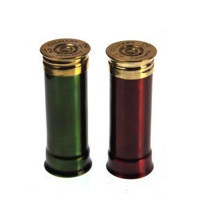 12 Gauge Cartridge Salt & Pepper Cruet - Green & Red Thumbnail 2
