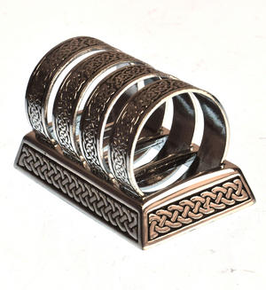 Celtic Knotwork Solid Pewter Napkin / Serviette Rings Thumbnail 1