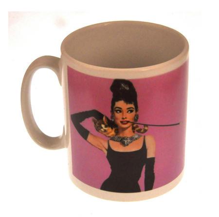 Audrey Hepburn Breakfast at Tiffany's Pink Mug