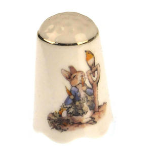 Beatrix Potter Peter Rabbit Porcelain Thimble Thumbnail 1
