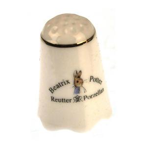 Beatrix Potter Mrs Josephine Rabbit with Flopsy, Mopsy and Cotton-tail Porcelain Thimble Thumbnail 2