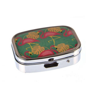 Pink Flamingos on Palm Trees Pill Box