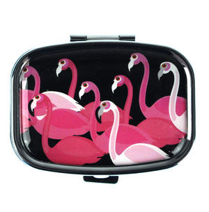 Pink Flamingos Flock Pill Box