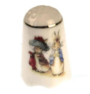 Beatrix Potter Benjamin Bunny & Peter Rabbit Porcelain Thimble Thumbnail 1