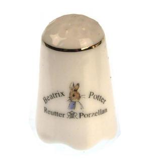 Beatrix Potter Benjamin Bunny & Peter Rabbit Porcelain Thimble Thumbnail 2