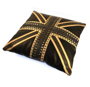 """Union Jack Studded Black Leather Jumbo Cushion 45cm / 18"""" Thumbnail 1"""