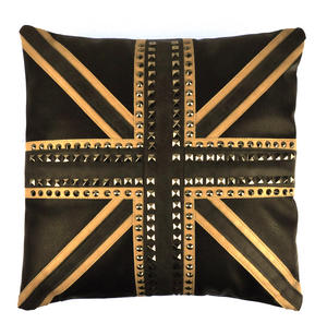 """Union Jack Studded Black Leather Jumbo Cushion 45cm / 18"""" Thumbnail 2"""