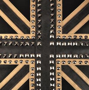 """Union Jack Studded Black Leather Jumbo Cushion 45cm / 18"""" Thumbnail 3"""