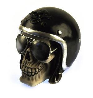 "The Enforcer - Motorcyclist Skull 16cm / 6"" Thumbnail 2"