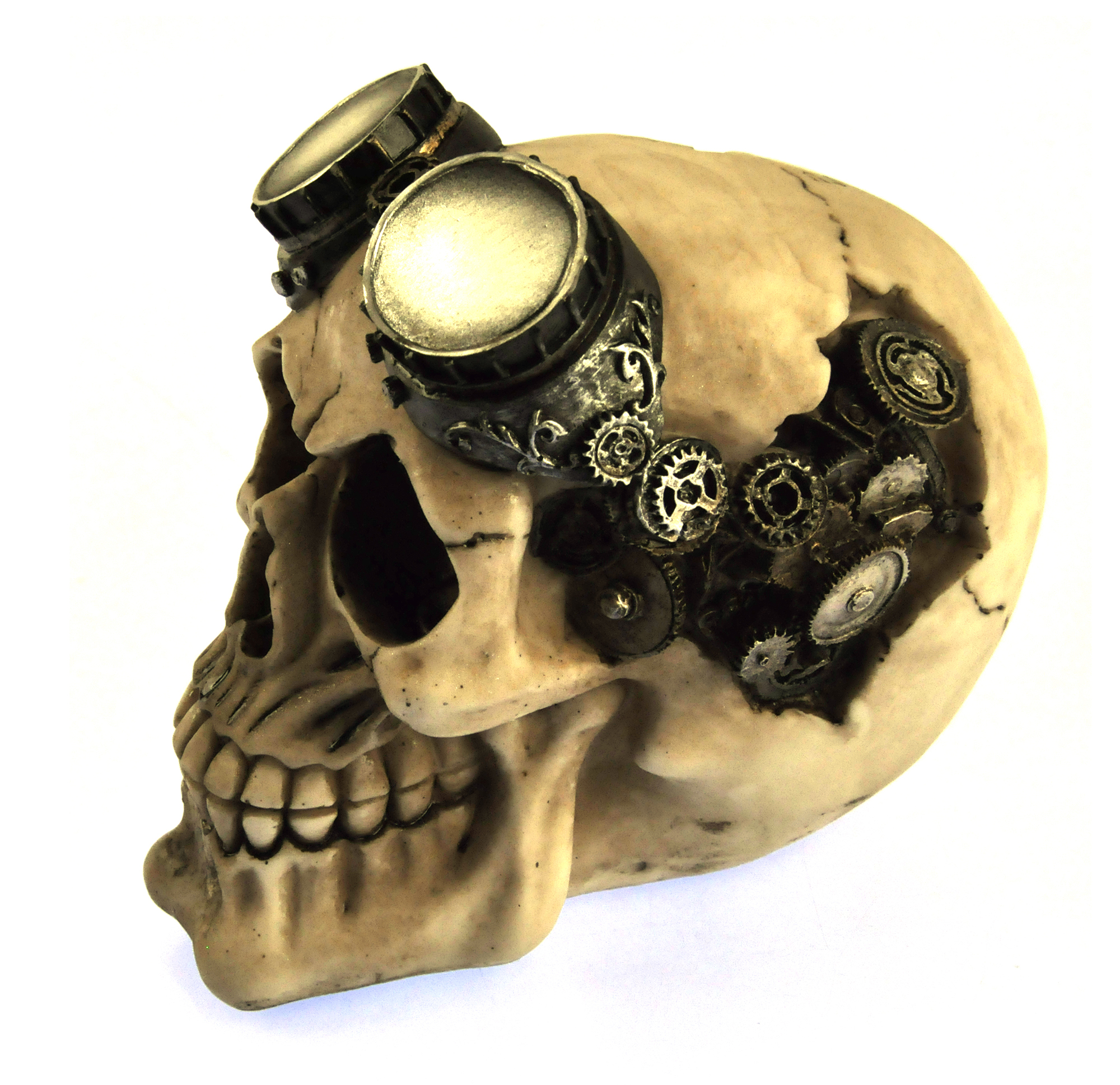 Steam Punk Skull Mechanical Brain And Goggles 15cm 6