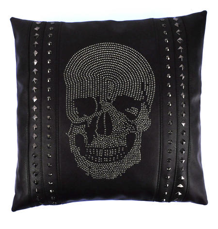 Rhinestone Skull Black Leather Jumbo Cushion 45cm / 18""