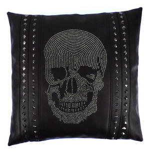 "Rhinestone Skull Black Leather Jumbo Cushion 45cm / 18"" Thumbnail 1"