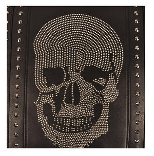 "Rhinestone Skull Black Leather Jumbo Cushion 45cm / 18"" Thumbnail 2"