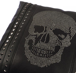 "Rhinestone Skull Black Leather Jumbo Cushion 45cm / 18"" Thumbnail 3"