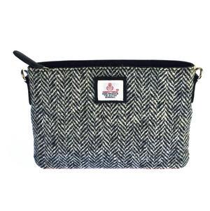 Black & White Herringbone Harris Tweed Small Bag