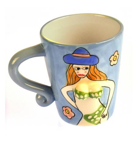 Beautiful Boobs Babe 3D Mug - Green Bikini & Blue Hat
