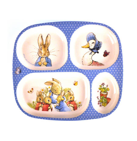 Beatrix Potter - Peter Rabbit, Mrs Rabbit & Jemima Puddleduck 4 Compartment Serving Tray