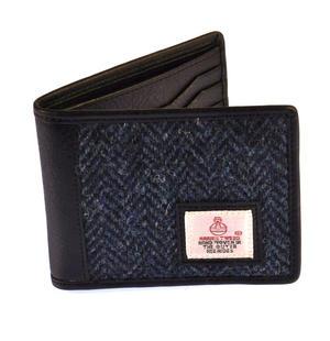 Blue Herringbone Harris Tweed Bi-fold Wallet by Cloudberry