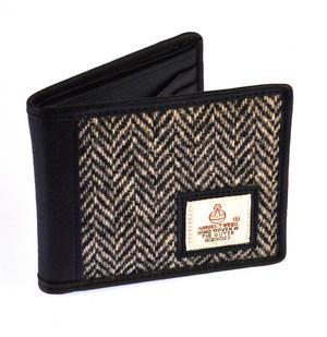Black & White Herringbone Harris Tweed Bi-fold Wallet by Cloudberry