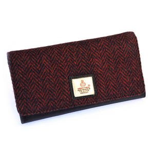 Red Herringbone Harris Tweed Ladies Purse by Cloudberry