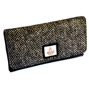 Black & White Herringbone Harris Tweed Ladies Purse by Cloudberry