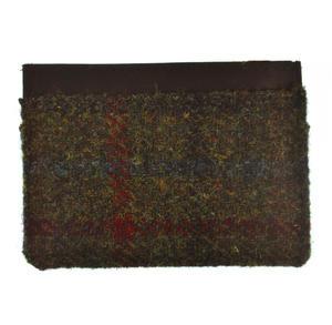 Green / Red Harris Tweed Credit Card Wallet