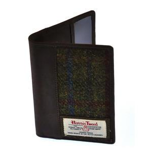 Red / Green Harris Tweed Passport Wallet