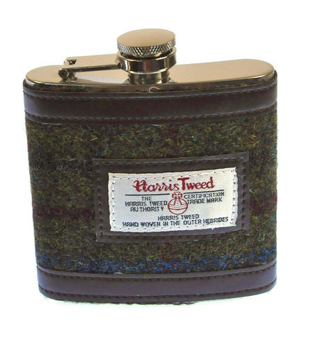 Red / Green Harris Tweed Hip Flask