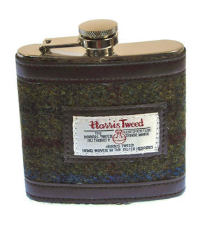 Red / Green Harris Tweed Hip Flask Thumbnail 1