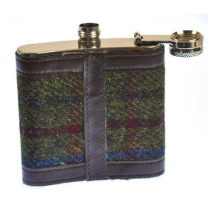 Red / Green Harris Tweed Hip Flask Thumbnail 3