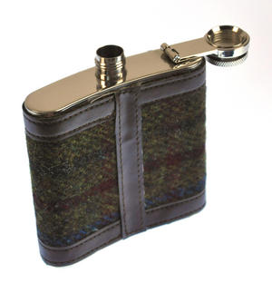 Red / Green Harris Tweed Hip Flask Thumbnail 4