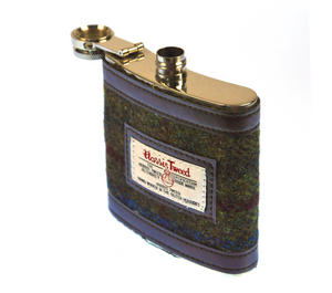 Red / Green Harris Tweed Hip Flask Thumbnail 5