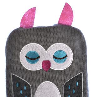 Grey Dotty Owl - Hot Water Bottle - 1 Litre / 35 fl oz