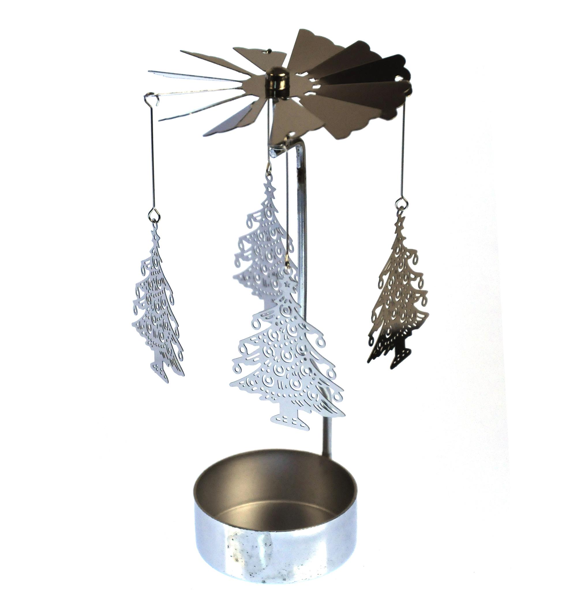 Xmas Tree Silver Rotating Tea Light Holder T Light