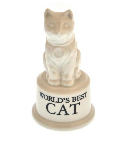 """World's Best Cat Trophy -  Ceramic Cat 5"""" / 12.7 cm"""
